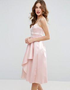 c618f6475e ASOS Satin Scuba Seamed Waterfall Debutante Midi Dress