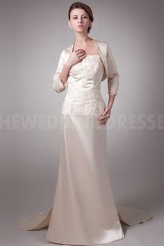 Satin Strapless Luxury Mother Of Bride Dress - Order Link: http://www.theweddingdresses.com/satin-strapless-luxury-mother-of-bride-dress-twdn5080.html - Embellishments: Embroidery; Length: Floor Length; Fabric: Satin; Waist: Natural - Price: 150.4817USD