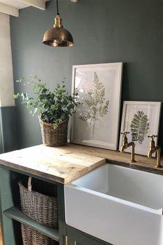 Olive Green Kitchen, Green Kitchen Walls, Green Kitchen Decor, Olive Green Walls, Utility Room Designs, Estilo Interior, Cottage Interiors, Laundry Room Design, Küchen Design