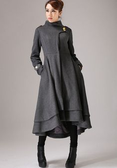 Gray wool coat long winter dress coat with layered hem (761)