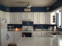 Amazing Kitchen Cupboards Paint Looks Elegant in Soft Colors: Pure White Kitchen Cupboards Paint Ideas In Blue Kitchen Wall ~ moabc.net Kitchen Designs Inspiration