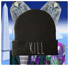 kill: black beanie, white embroidery    hypenosis.com  http://facebook.com/hypenosis