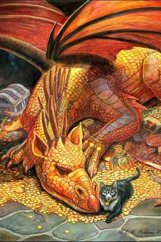 A Dragon and his pet, a puzzle by Sunsout now, c. Perkins by nicole Magical Creatures, Fantasy Creatures, Dragon Oriental, Dragon Dreaming, Dragon Pictures, Dragon's Lair, Dragon Art, Red Dragon, Fantasy Artwork