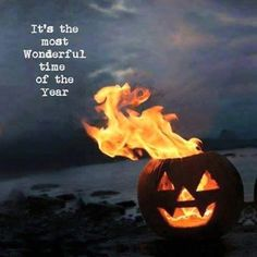 A flaming pumpkin Jack O Lantern on a spooky night! BEST NIGHT OF THE YEAR! Over spooky creepy chilling pins here on my Halloween board! Samhain Halloween, Halloween Quotes, Halloween Horror, Halloween 2018, Spooky Halloween, Holidays Halloween, Vintage Halloween, Halloween Pumpkins, Halloween Crafts