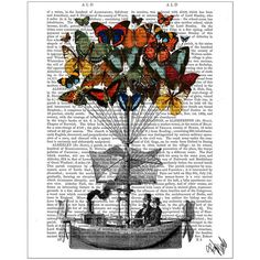 FabFunky Butterfly Airship Print ($41) ❤ liked on Polyvore featuring home, home decor, wall art, backgrounds, borders, multi, picture frame, antique wall art, butterfly wall art and butterfly home decor