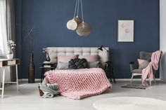 Buy White carpet on floor by bialasiewicz on PhotoDune. White carpet on floor in pastel bedroom with king-size bed against blue wall with simple painting Blue And Pink Bedroom, Dark Blue Bedrooms, Navy Bedrooms, Bedroom Color Schemes, Bedroom Colors, Bedroom Decor, Colourful Bedroom, Bedroom Wall, Cama King