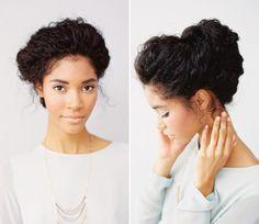 Penteados para noivas de cabelos cacheados - coques com carinha vintage