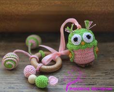 Crochet  Baby Toy - Baby Teething Waldorf Toy  - Crochet  Sensory Owl Toy
