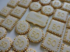 Anniversay or Birthday Number Party Platter Hand decorated sugar cookies - 37 cookies ( 50th Anniversary Cookies, 50th Wedding Anniversary, Anniversary Parties, Anniversary Decorations, Anniversary Ideas, 50th Birthday Party, Birthday Cookies, Square Cookies, Bakery Box