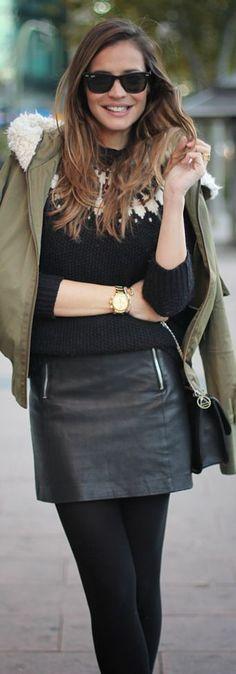 Winter Fashion 2013. Leather mini, camo green coat, gold accents!. ::M::