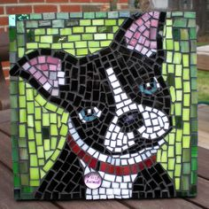 Party Animal Mosaic -grouted Boston Terrier mosaic by Jill Beninato Boston Terrier Kunst, Boston Terrier Love, Boston Terriers, Mosaic Crafts, Mosaic Projects, Art Projects, Stained Glass Patterns, Mosaic Patterns, Boston Art
