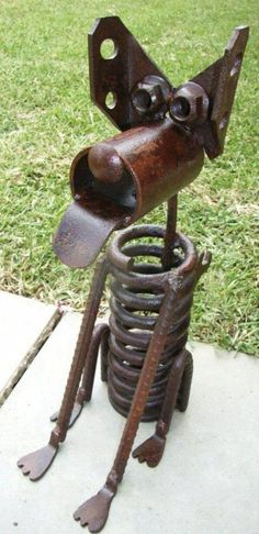 rusty upcycled metal parts for dog