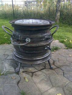 Horno a le a con llantas de auto estufas pinterest for Estufas de lena usadas