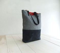 Zippered Black Waxed Canvas Tote Bag Black Tweed by metaphore, $69.00