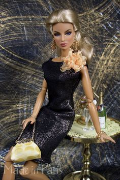"""Little Black Dress"" Barbie w/ Peach Corsage and Gold Evening Bag"