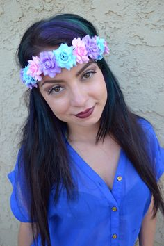 Beautiful Flower Leather Headband With Pastel Pink, Purple, And Blue Roses. Roses Are Attached To Soft Tan Suede Leather String That Fastens In The Back. Both Ends Of String Are Decorated With Matchin