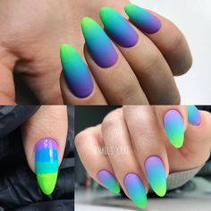 50 Affordable Ombre Nail Art Ideas to Get Inspired - Everything is Here - Nagelkunst Design - Purple Ombre Nails, Blue Nails, Matte Nails, Diy Nails, Ombre Green, Ombre Nail Art, Neon Green, Nagellack Design, Nagel Blog