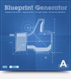 Photoshop action addon blueprint generator