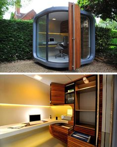 A cool outdoor personal office pod.