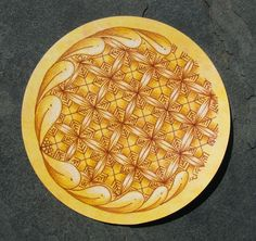 Crux zendala - Sue's tangle trips - Done on a hand-colored tile for sale on Sue's blog.