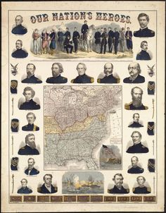 Our Nations Heroes (1863) - featuring twenty-one portraits of Union Generals and Commodores, and the vignette along the top shows soldiers in the uniforms of various states
