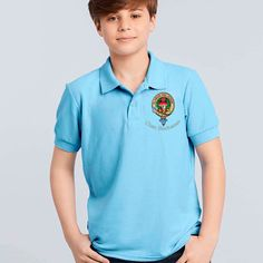 Kids polo with embroidered Buchanan clan crest - only from ScotClans
