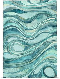 Contemporary abstract watercolor artwork in blue shades, resembling waves of flowing water. Aqua Waves Watercolor Wall Art by Shell Rummel from Great BIG Canvas. Watercolor Wave, Watercolor Artwork, Watercolor Artists, Canvas Wall Art, Canvas Prints, Big Canvas, Framed Prints, Canvas Collage, Backgrounds Wallpapers