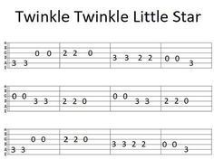 Easy Guitar Tab Twinkle Twinkle Little Star Guitar Tabs And Chords, Guitar Tabs Acoustic, Easy Guitar Tabs, Guitar Chords Beginner, Guitar Chords For Songs, Guitar Sheet Music, Guitar Notes, Simple Guitar, Guitar Diy