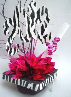 Centerpieces | Zebra graduation mortar board hat centerpiece | www.DesignsbyGinny.com ...