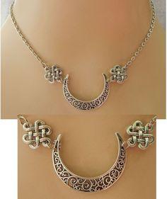Silver Celtic Knot Moon Pendant Necklace Jewelry Handmade NEW Accessories #handmade http://www.ebay.com/itm/152046069577?ssPageName=STRK:MESELX:IT&_trksid=p3984.m1555.l2649