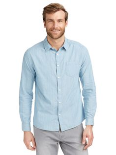 You'll look great with this!   Chambray Dobby Shirt http://www.fashion4men.com.au/shop/just-jeans/chambray-dobby-shirt/ #Chambray, #Dobby, #JustJeans, #Men, #Shirt, #Shirts