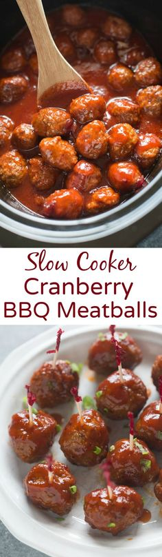 Slow Cooker Cranberry BBQ Meatballs are sweet and tangy with a little kick you will love. The easiest appetizer and finger food that is perfect for parties and entertaining. | Tastes Better From Scrat (Thanksgiving Mexican Recipes)