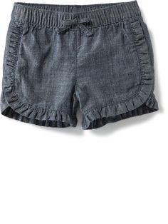 Ruffle-Trim Chambray Shorts Product Image