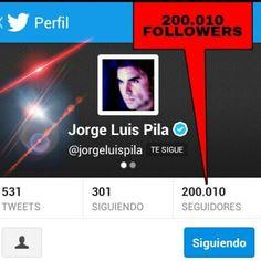 JORGE LUIS PILA llego a los 200.000 FOLLOWERS y subiendo !! Siguelo en Twitter @jorgeluispila y comparte con su Club d Fans @jorge luis pila fans club tus opiniones