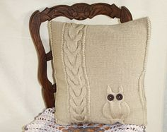Knitted Pillow Case. Decorative Pillow with an owl pattern. Cable cushion. Size : 50 x 50 cm. or 20 x 20 inch. Ready to ship