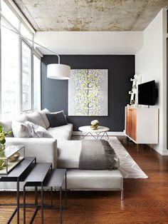 This room has it all. Practical furniture that allows flexibility a strong primary and secondary focal point and that lovely dark wall to play up the abundant natural light.