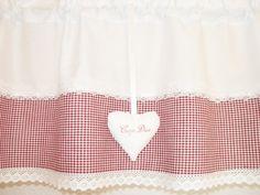 ♥CARPE DIEM♥HERZ♥Landhausgardine♥BORDEAUX♥♥Karo♥ von ~*~♥♥♥ rosenstuebchen ♥♥♥~*~ auf DaWanda.com