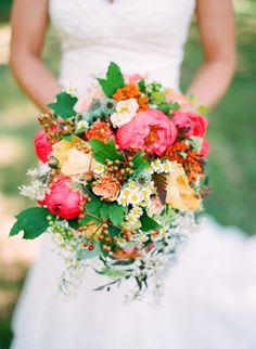holly heider chapple flowers, coral peony, yellow peony, viburnum berry, queen annes lace
