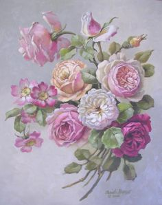 Christie Repasy English Romance Original Canvas Print, featuring a rose bouquet, this canvas print is an original painting by Christie Repasy. Decoupage Vintage, Vintage Art, Arte Floral, Framed Art Prints, Canvas Prints, Vintage Rosen, Romantic Roses, Rose Art, Botanical Prints