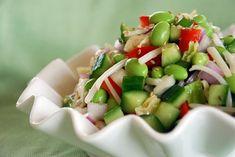 Edamame Salad with Rice Vinegar Vinaigrette - Korean Bapsang Asian Recipes, Healthy Recipes, Kid Recipes, Healthy Salads, Yummy Recipes, Chicken Recipes, Korean Dishes, Korean Food, Edamame Salad