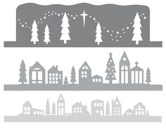 Use your Cricut Explore to cut this beautifully detailed winter wonderland mantel luminaria! Add some fairy lights and watch the town come alight. 3d Christmas, Christmas Lanterns, Christmas Villages, Christmas Ideas, Santa Crafts, Holiday Crafts, New Years Decorations, Christmas Decorations, Winter Wonderland Decorations