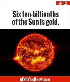 eDidYouKnow.com ►  Six ten-billionths of the Sun is gold.