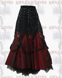 Black corset cinch lace up skirt over dark crimson long taffeta satin skirt. Vampire goth style - I really want one of these!!!!!