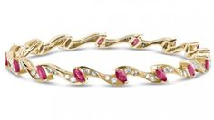Ivy Diamond (1.30 ct) & Ruby (3.09 ct) Bangle, 18K Yellow Gold (15.42 gms total weight)
