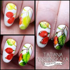 Nail Manicure, Diy Nails, Manicures, Fruit Nail Art, Autumn Nails, Arte Floral, Nail Tutorials, Disney Drawings, Wedding Nails