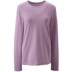 Lands' End Women's plus Size Petite Relaxed Supima Crewneck T-shirt ($30) ❤ liked on Polyvore featuring plus size women's fashion, plus size clothing, plus size tops, plus size t-shirts, purple, crew neck tee, crew neck t shirt, extra long t shirts and cotton t shirts
