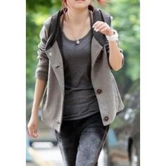 Color Block Hooded Casual Style Long Sleeves Cotton Blend Jacket For Women