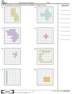 7th grade area and perimeter worksheets area and