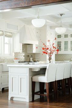 White everything with tan glass tiles ~Country Chic Cottage Design