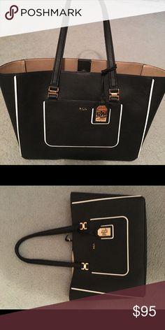 47a2d64284d ralph lauren handbag with cosmetic bag ralph lauren black white ...